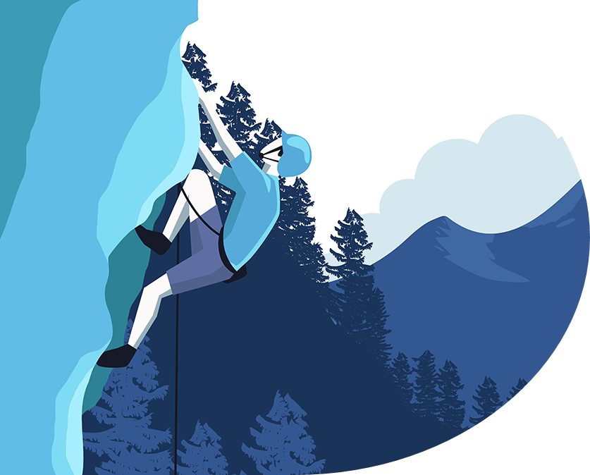 Allegoriq's strategic approach to unlocking the value of your stock options: a blue digital image of a man climbing a mountain